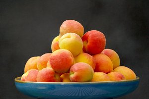 Plate with freshly picked apricots