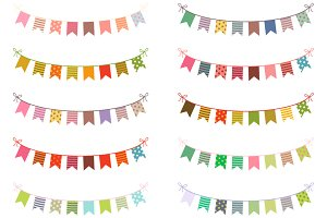 Colorful buntings clip art set