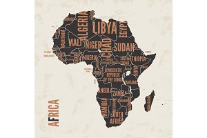 Africa vintage detailed map print poster design. Vector illustra