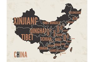 China vintage detailed map print poster design. Vector illustrat