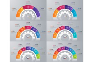 Collection of vector circle chart templates for infographics
