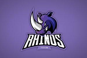 Rhino mascot sport logo design