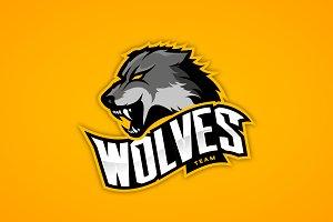 Wolf mascot sport logo design