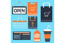 Shopping icons set basket bag label