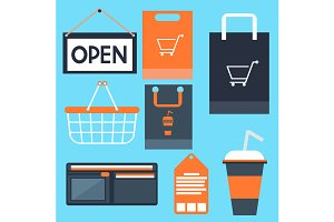 Shopping icons set basket bag label