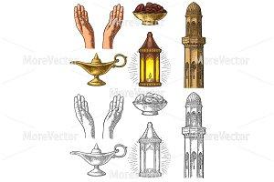Praying Hands, minaret, Aladdin lamp