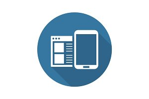 Mobile Surfing Icon. Flat Design.