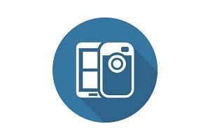 Mobile Photo Blogging Icon. Flat Design.
