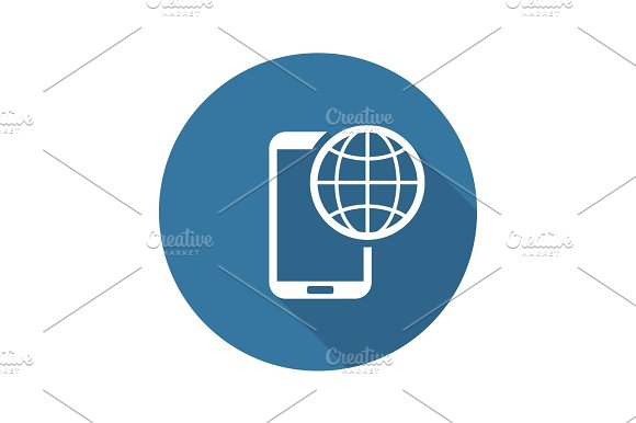 International Roaming Icon Flat Design
