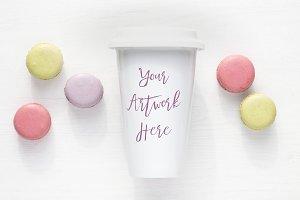 Pastel Macaroons Travel Mug Mockup