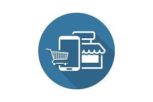 Online Shopping Icon. Flat Design.