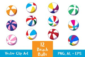 12 Beach Balls Clipart