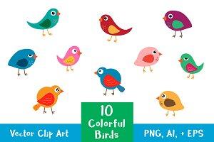 10 Colorful Birds Vector Clip Art