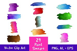 24 Rectangular Paint Smears