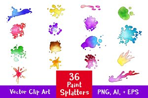 36 Paint Splatters