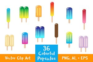 36 Colorful Popsicles