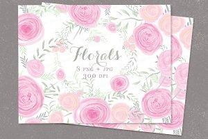 Watercolor clip art pink roses