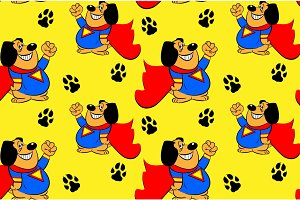 Dog superhero seamless pattern