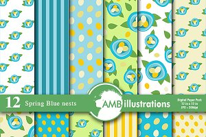 Spring Blue Nests digital papers 590