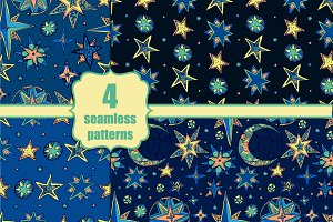 Set of four seamless fantasy stars