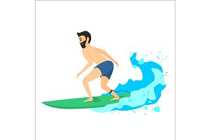 Man riding on surfboard