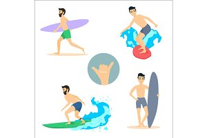 Set of vector illustrations of surfer men