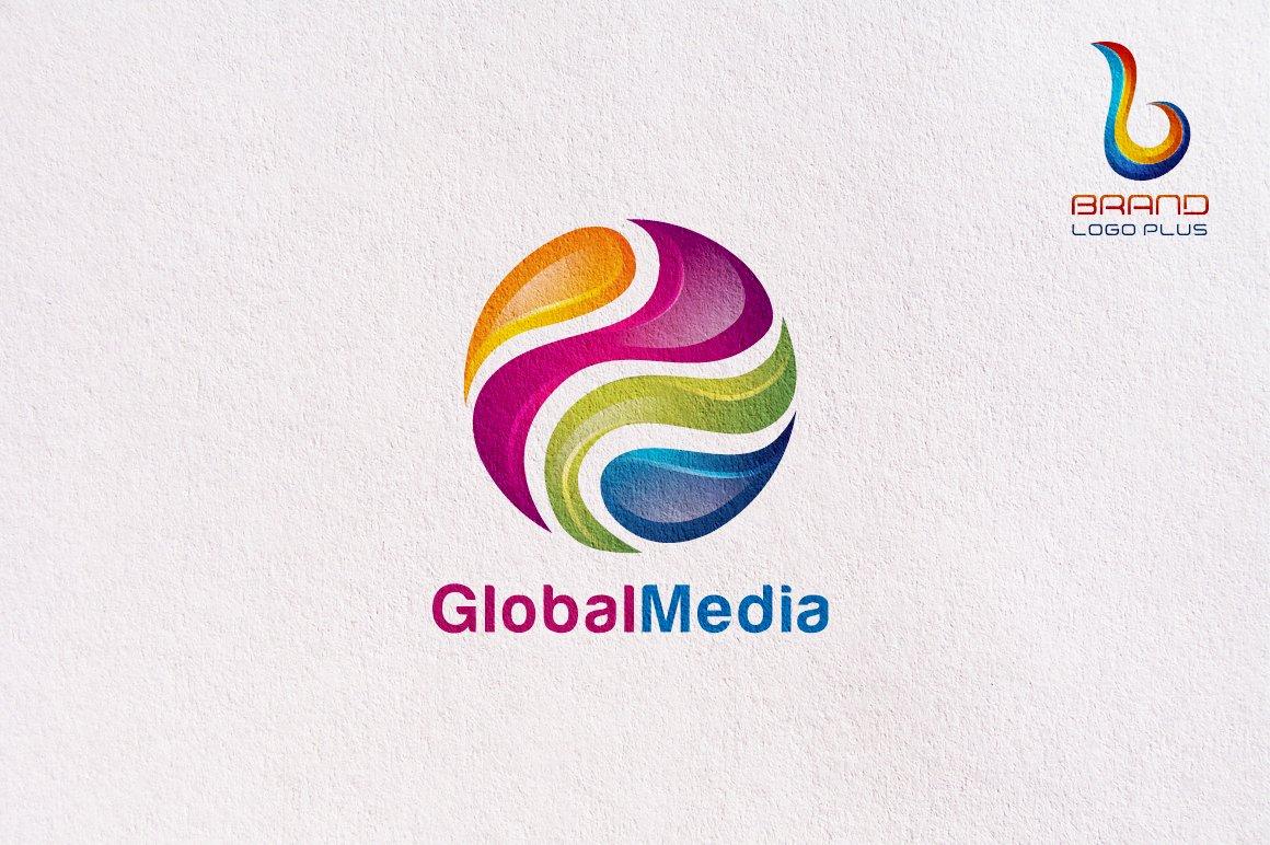 D Global Media Logo Design Template Logo Templates Creative Market - Logo creator templates
