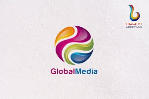 3D Global Media Logo Design Template