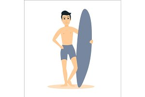 Man surfer stay with surfboard.