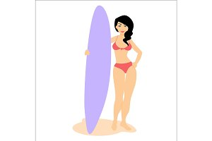 Woman stay with surfboard.