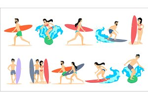 Big set of vector illustrations of surfers