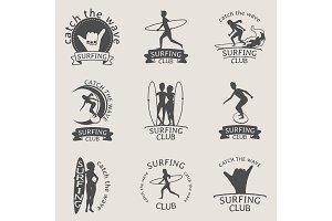 Set of Surfing club logos