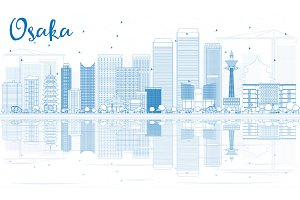 Outline Osaka Skyline
