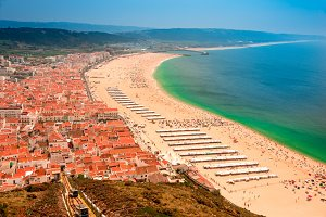 Town and beach of Nazare.Portugal.