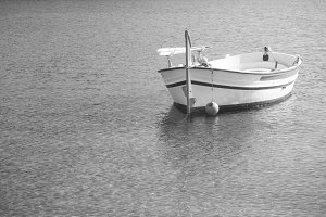 Beautiful boat on black and white