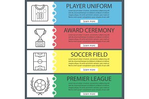 Soccer web banner templates set