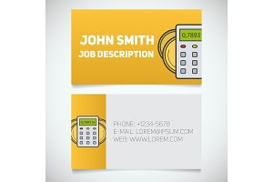 Business card print template with calculator and coins logo