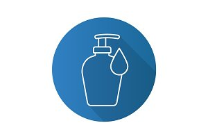 Liquid soap bottle with drop. Flat linear long shadow icon