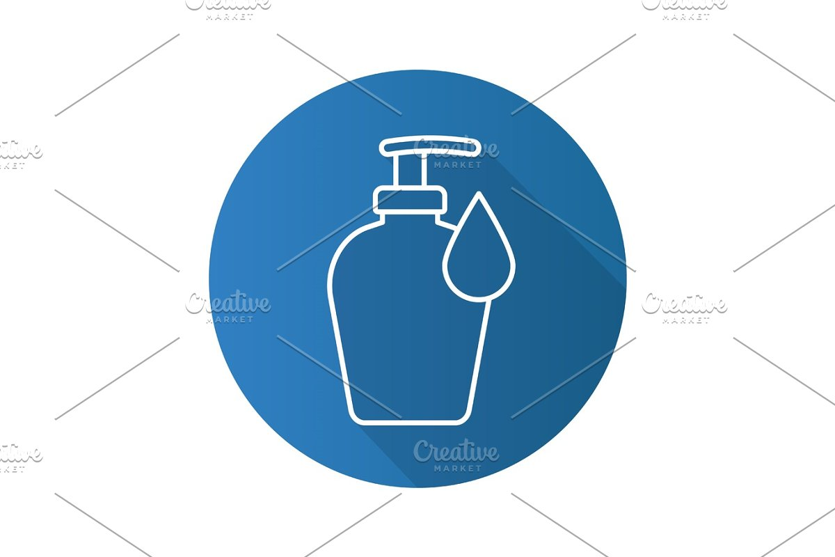 Liquid soap bottle with drop. Flat linear long shadow icon in Graphics - product preview 8