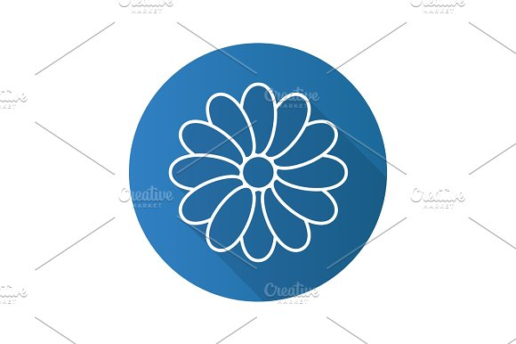 Camomile flat linear long shadow icon