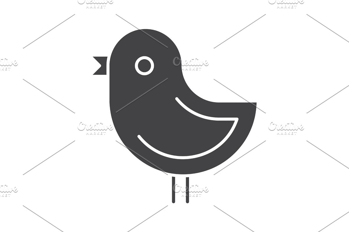 Chicken glyph icon in Graphics - product preview 8