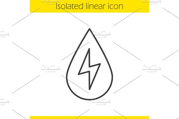 Water energy linear icon