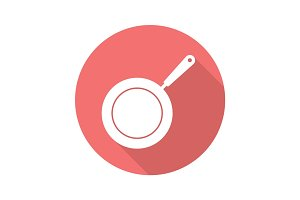 Frying pan flat design long shadow icon