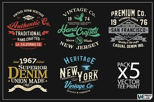 PACK OF 5 TEE PRINTS AS VECTOR