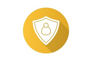 User security flat design long shadow icon