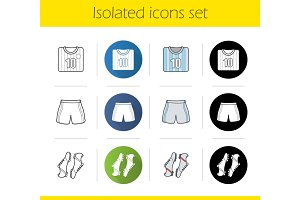 Soccer player's uniform icons set