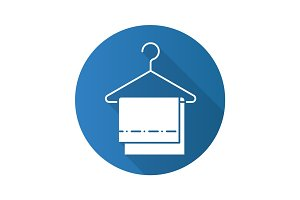 Towels on clothes hanger. Flat design long shadow icon