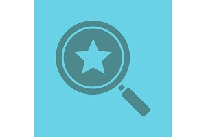 Magnifying glass with star glyph color icon