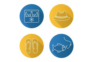 Summer recreation items. Flat linear long shadow icons set