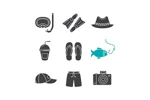 Summer holidays glyph icons set